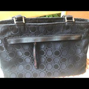 Salvatore Ferragamo Black Gancini shoulder bag